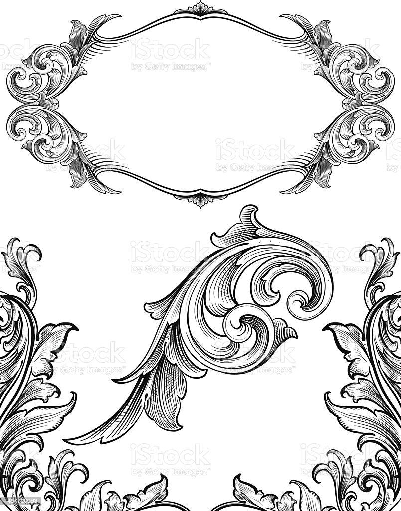 Arabesque Flourish Set vector art illustration