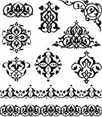 Set of ornaments based on Islamic design.  Repeating border swatches are included in brushes window.