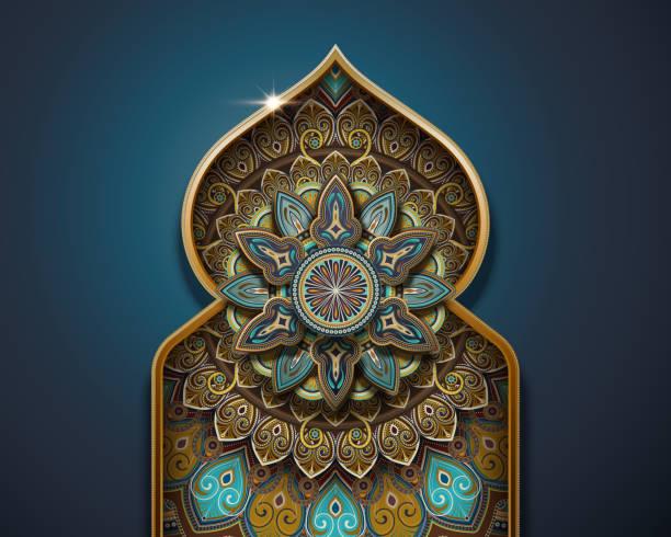 Arabesque pattern design vector art illustration