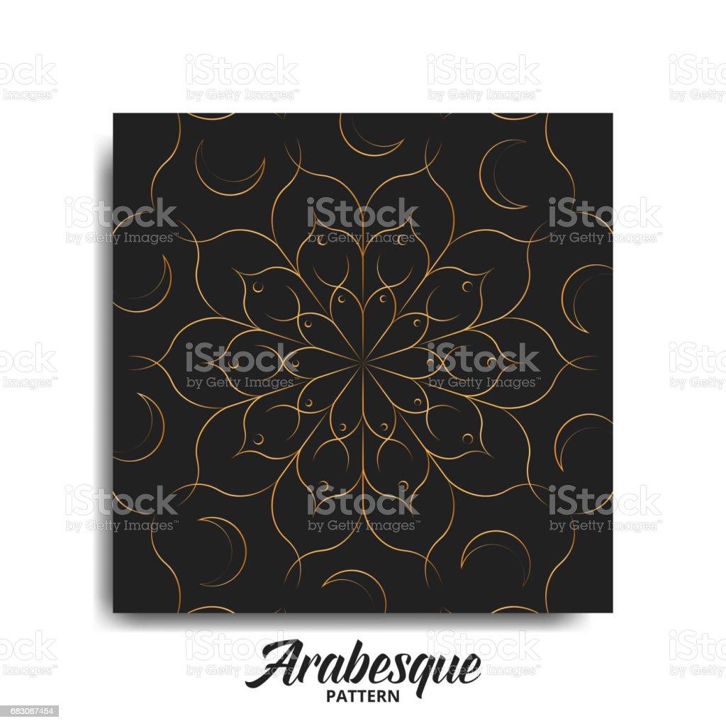 Arabesque pattern. Golden arabic decoration for Islamic holidays arabesque pattern golden arabic decoration for islamic holidays - arte vetorial de stock e mais imagens de abstrato royalty-free