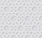 Arabesque seamless pattern with stars. Traditional girih tiles on bright background. Vector Illustration. Islamic wallpaper design.
