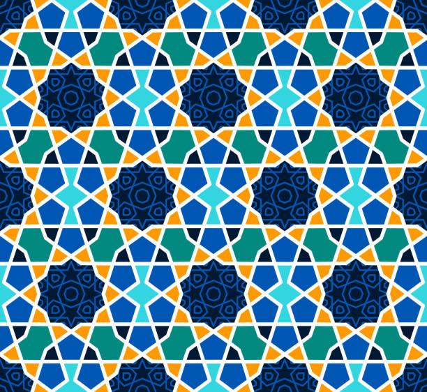 arabesque nahtlose muster mit sternen auf blauem - mosaikglas stock-grafiken, -clipart, -cartoons und -symbole