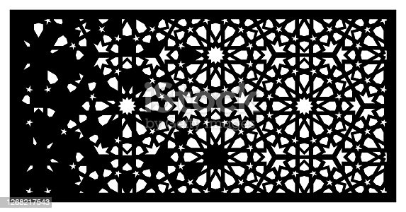istock Arabesque vector panel. Laser cutting. Template for interior partition in arabic style. Arabesque cnc screen, panel 1268217543