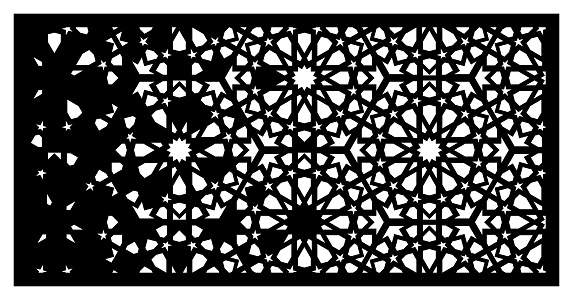 Arabesque vector panel. Laser cutting. Template for interior partition in arabic style. Arabesque cnc screen, panel