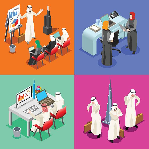 arabski działalności izometryczny ludzie - abu dhabi stock illustrations