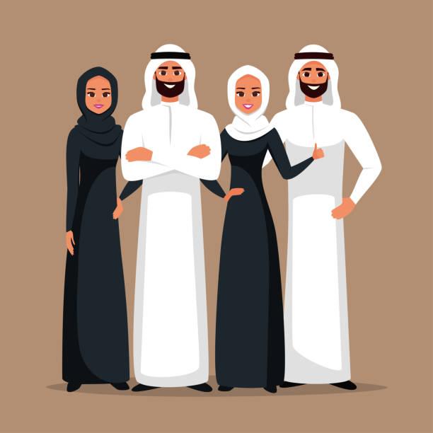 阿拉伯傳統服裝商務團隊 - emirati woman 幅插畫檔、美工圖案、卡通及圖標