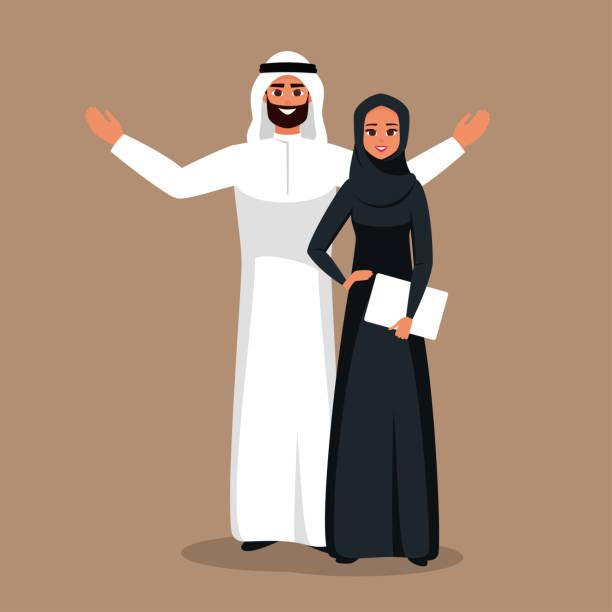 阿拉伯商業團隊的男人和女人。 - emirati woman 幅插畫檔、美工圖案、卡通及圖標