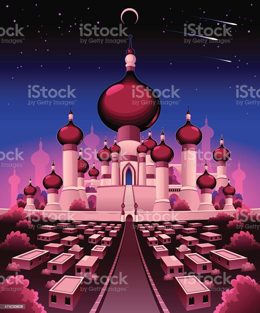 Arabian castle in the night vector art illustration