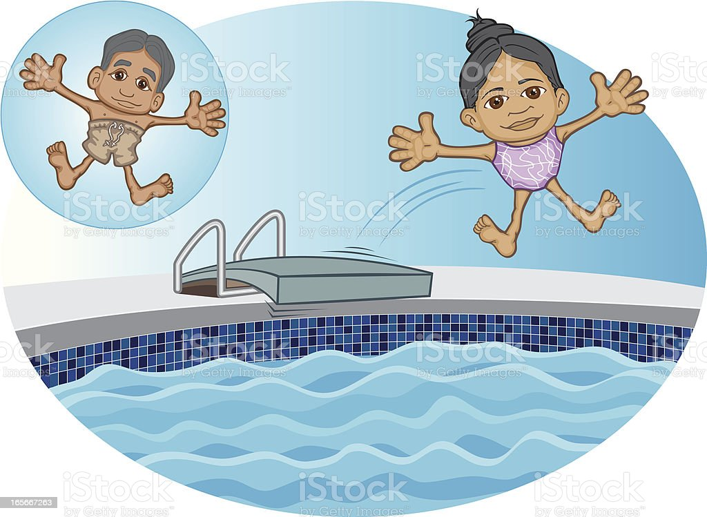Arabian children jumping into swimming pool vector art illustration