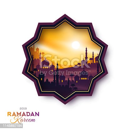 Star shape emblem with Arabian city at sunset, vector illustration. Ramadan Kareem label with buildings temple on mountains, mosque and palms. Arab cityscape scene.
