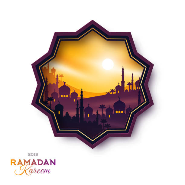 Arabian city at sunset emblem Star shape emblem with Arabian city at sunset, vector illustration. Ramadan Kareem label with buildings temple on mountains, mosque and palms. Arab cityscape scene. morocco stock illustrations