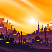Arabian city at sunset, vector illustration. Ramadan Kareem banner or greeting card with buildings temple on mountains, mosque and palms. Arab cityscape scene.