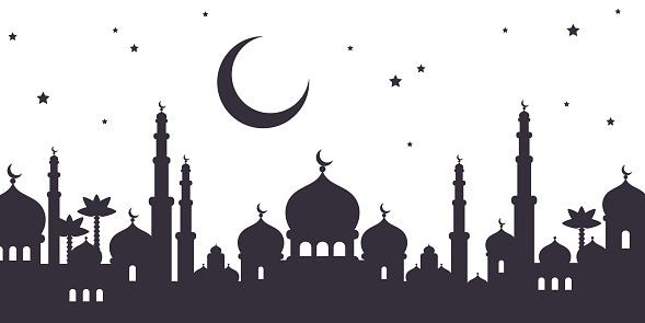Arabian city black silhouette