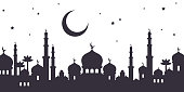 View of Arabian city black silhouette with mosque and moon isolated on white background. Night starry sky. Vector illustration.