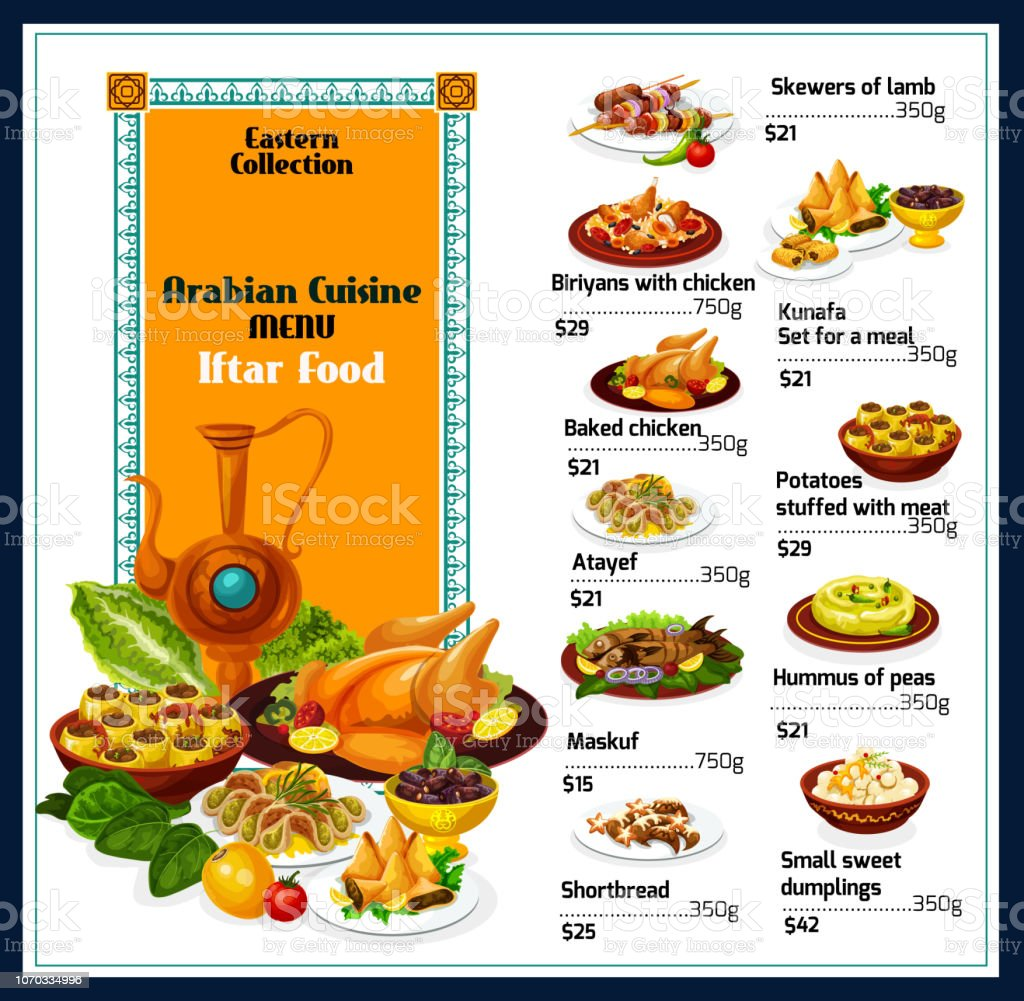 Arabian Cuisine Traditional Dishes Food Menu Stock Vector