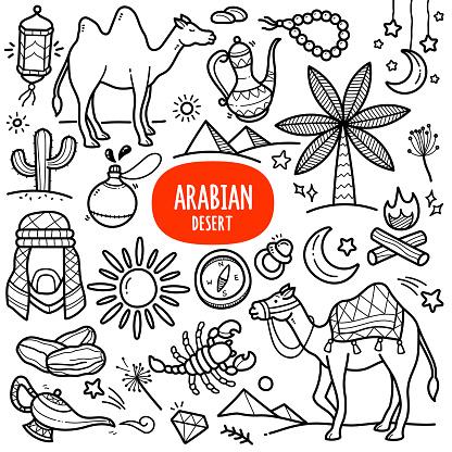 Arabian Desert Doodle Illustration