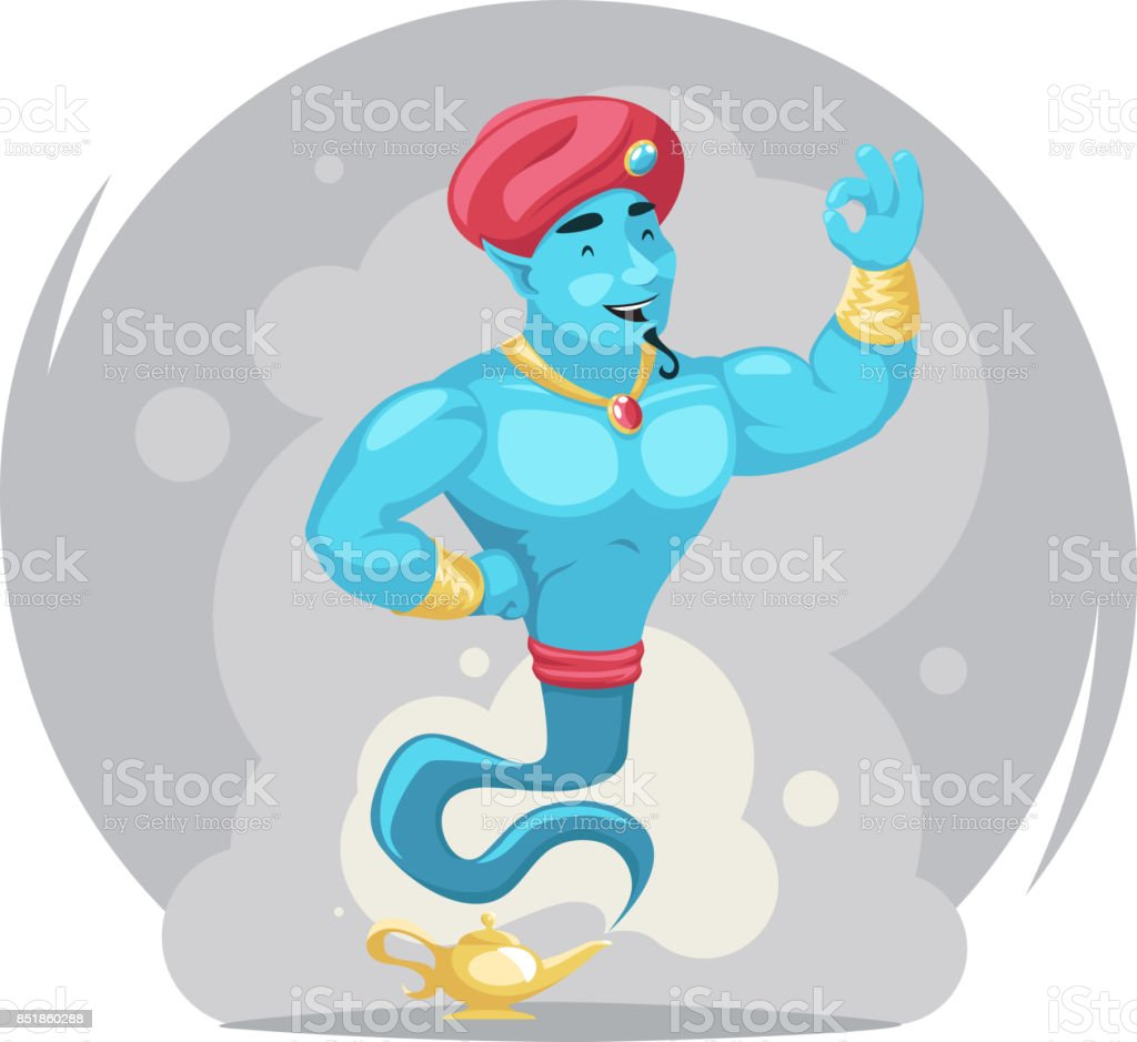 Arabian Genie Turban Magic Lamp Smoke Cartoon Characters Set Wish ... for Magic Lamp With Smoke  56bof