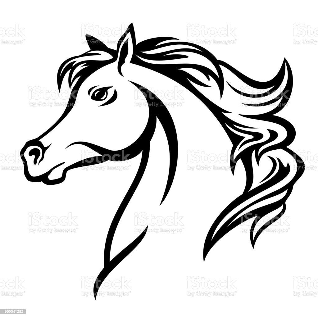 arabian horse profile head black vector design vector art illustration
