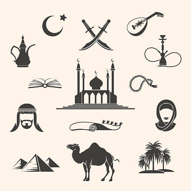 arabian ikony zestaw - arab stock illustrations