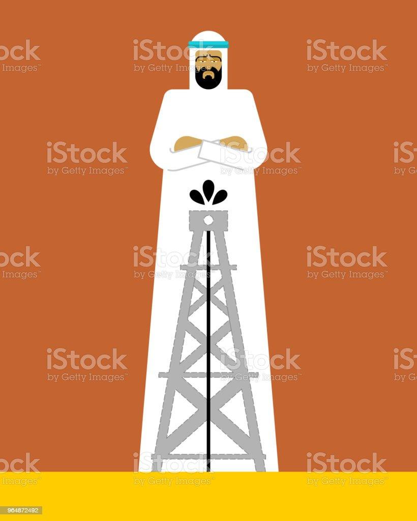 Arabian man and oil pump. OAE guy. Vector illustration royalty-free arabian man and oil pump oae guy vector illustration stock vector art & more images of adult