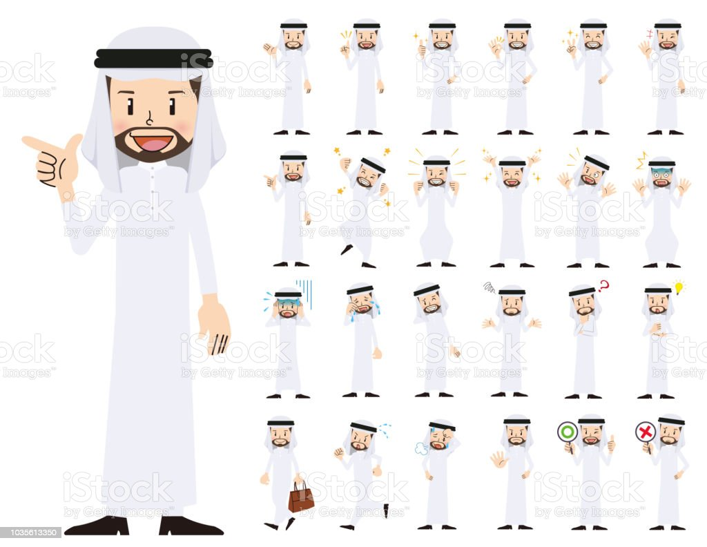 arabian man charactor set. Various poses and emotions.Businessman charactor set. Various poses and emotions. vector art illustration
