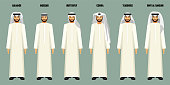 Arabian men standing in line and wearing white throbes and headscarves of various types with their names above, vector illustration