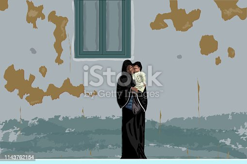 Young mother in black abaya and hijab stands near an old, dirty, shabby wall, holding little baby. Poor refugee woman with infant under window - vector.
