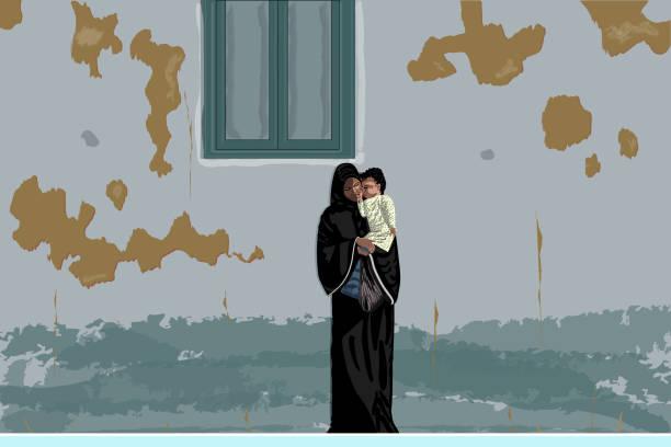 illustrazioni stock, clip art, cartoni animati e icone di tendenza di arabian mother in black abaya and hijab with little baby in her hands under shabby wall, egypt. - bambine africa