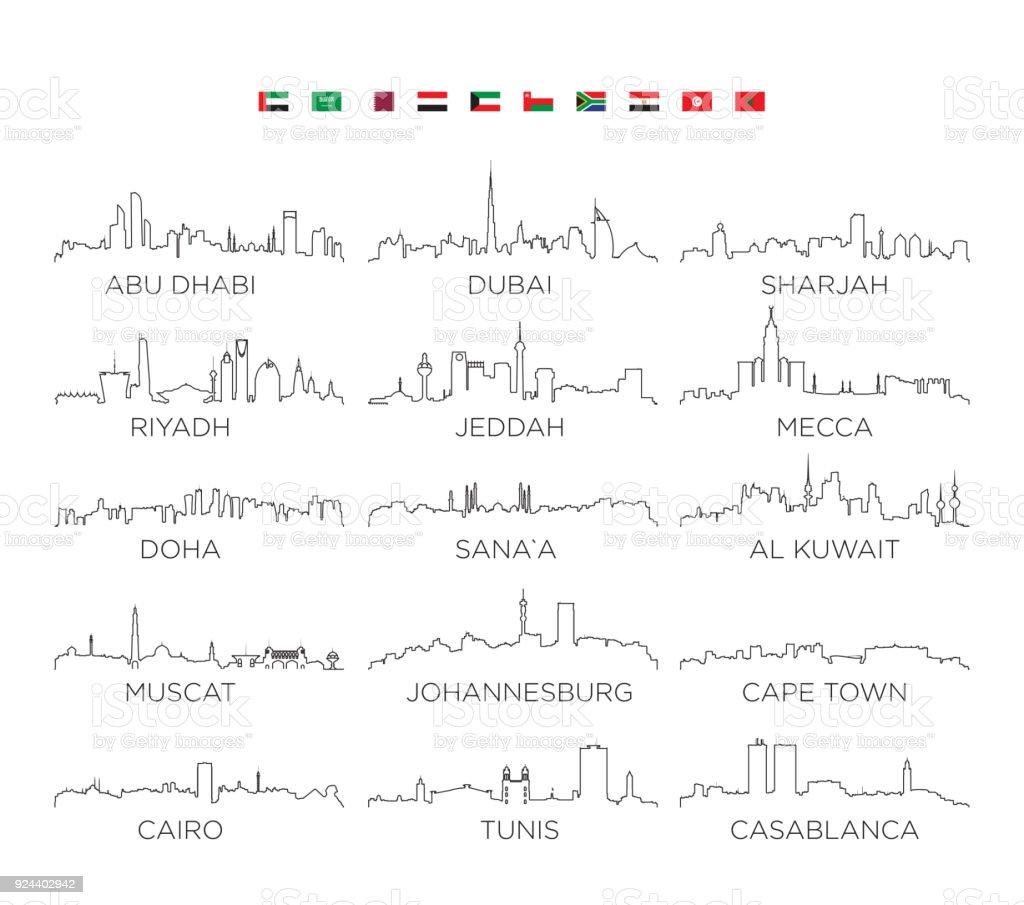 Arabian Peninsula and Africa skyline city line art, vector Illustration design vector art illustration