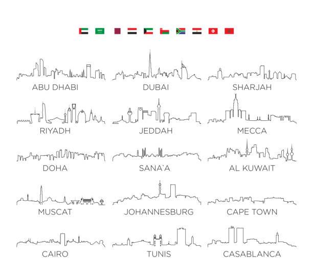 arap yarımadası'nda ve afrika manzarası şehir satır resmi, vektör çizim tasarım - abu dhabi stock illustrations