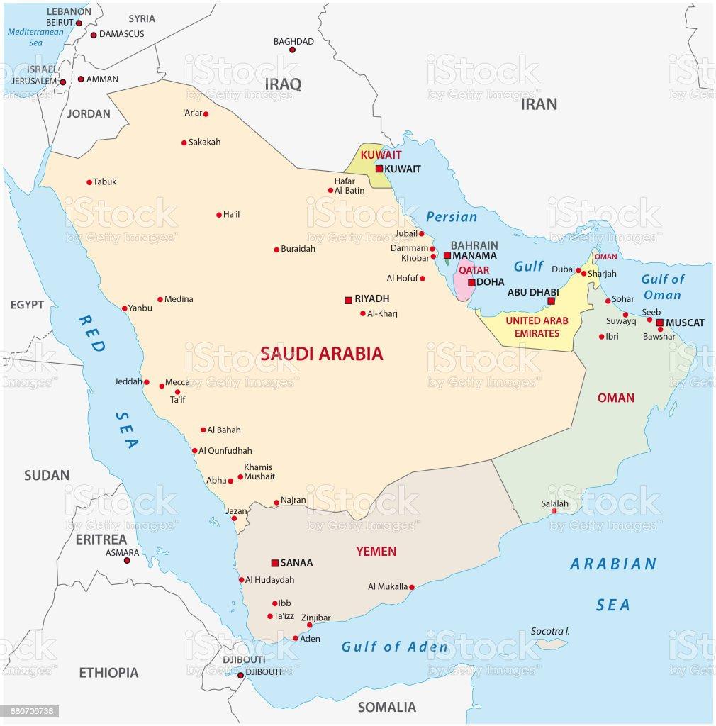Arabian Peninsula Map Stock Illustration - Download Image Now - iStock