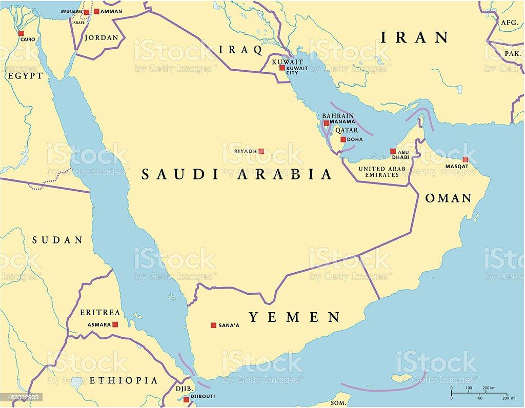 Arabian Peninsula Political Map vector art illustration