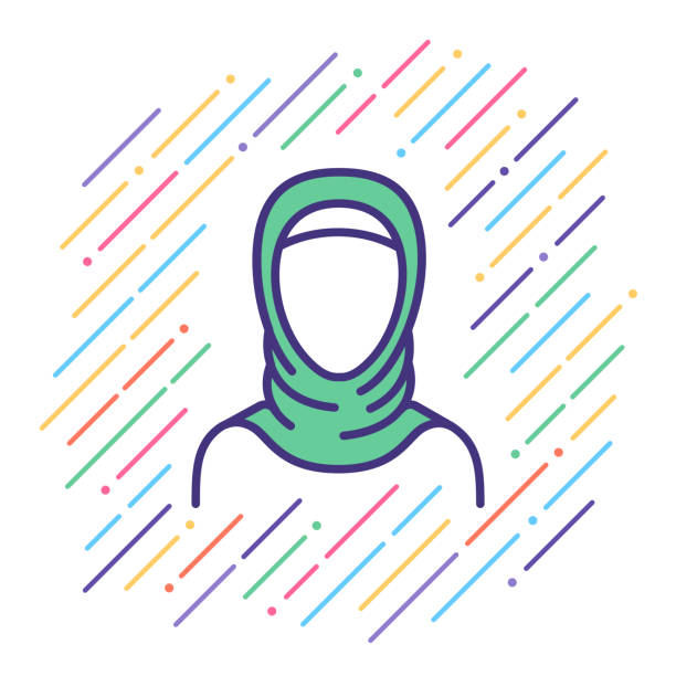 arabian woman line icon - arab stock illustrations