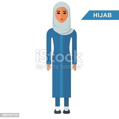 Arabian woman wear hijab. Traditional Islamic Muslim clothing. Flat vector cartoon illustration. Flat vector cartoon illustration. Objects isolated on a white background.