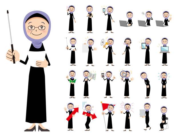 ilustrações de stock, clip art, desenhos animados e ícones de arabian women charactor set. presenting in various action. - senior business woman tablet