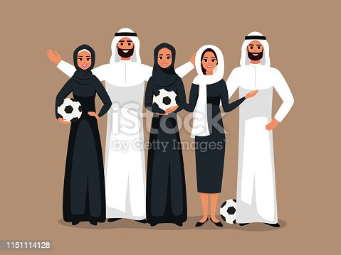 Multicultural Group of young women and men standing together with soccer ball in the hands. Vector Design with successful team of Muslim and Caucasian people working together on world championship cup