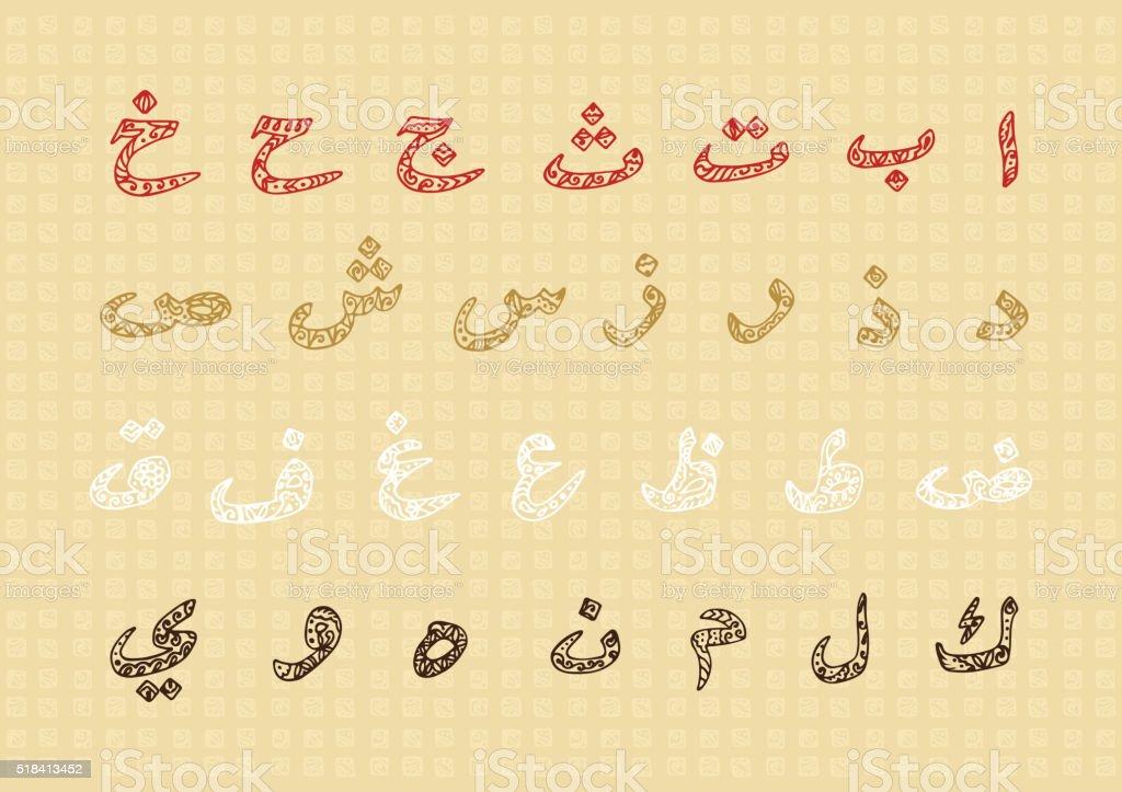 arabische buchstaben handgezeichnet gekritzel arabische