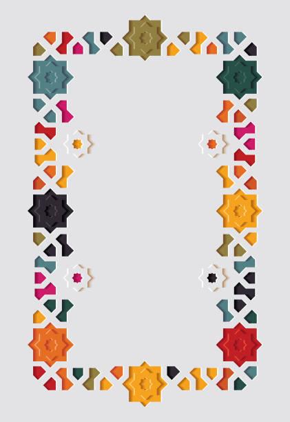 ilustrações de stock, clip art, desenhos animados e ícones de arabic arabesque design greeting card for ramadan kareem, islamic ornamental colorful detail of mosaic - cora��o