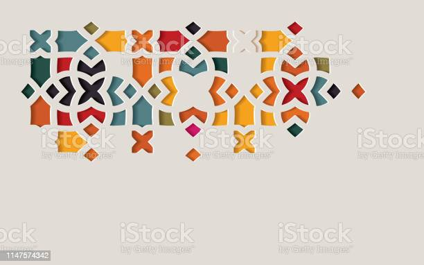 Arabic Arabesque Design Greeting Card For Ramadan Kareem Islamic Ornamental Colorful Detail Of Mosaic Isolated On A Light Background - Arte vetorial de stock e mais imagens de Abstrato