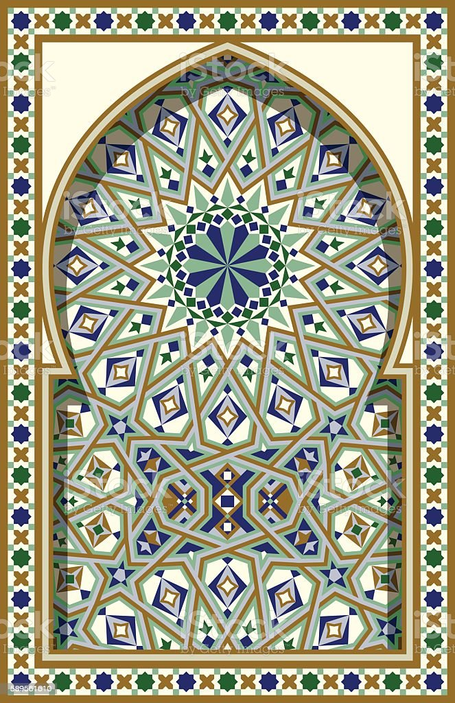 Arabic Arch. Traditional Islamic Background. Mosque decoration element. - Illustration vectorielle
