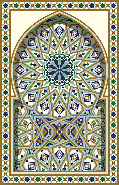 Arabic Arch. Traditional Islamic Background. Mosque decoration element. vector art illustration