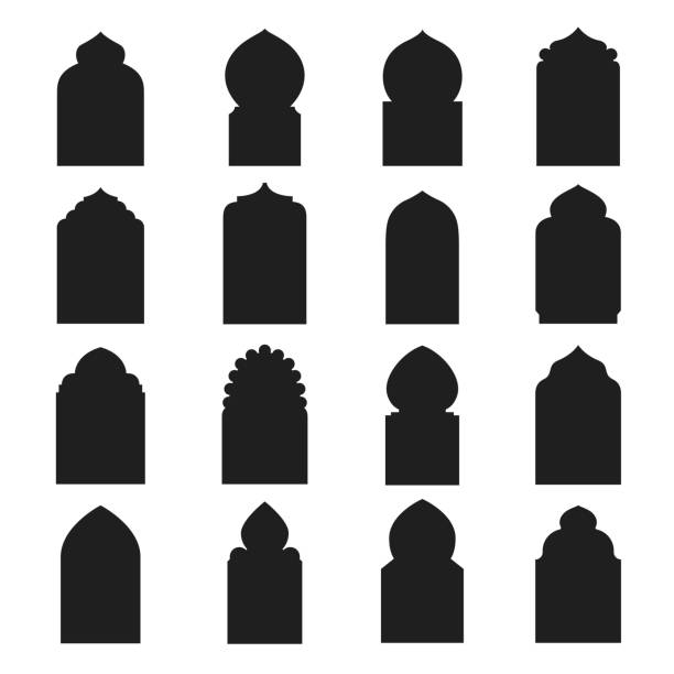 arabic arch window and doors black set - arab stock illustrations
