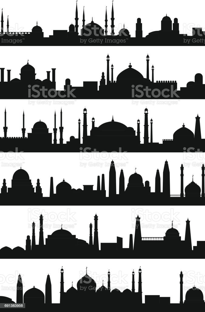Arabic architecture silhouette of mosque roof. Vector city isolate on white background vector art illustration