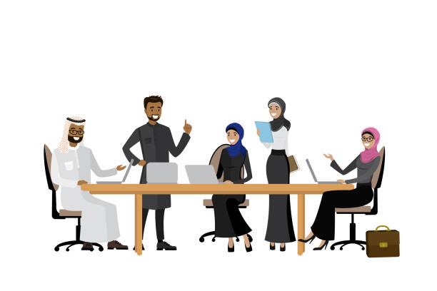 阿拉伯商業團隊或 coworking, - emirati woman 幅插畫檔、美工圖案、卡通及圖標