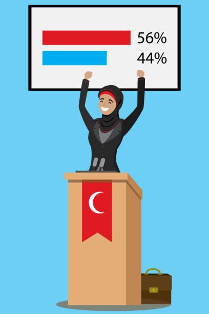 arabische geschäftsfrau im gespräch mit publikum aus tribüne - standlautsprecher stock-grafiken, -clipart, -cartoons und -symbole