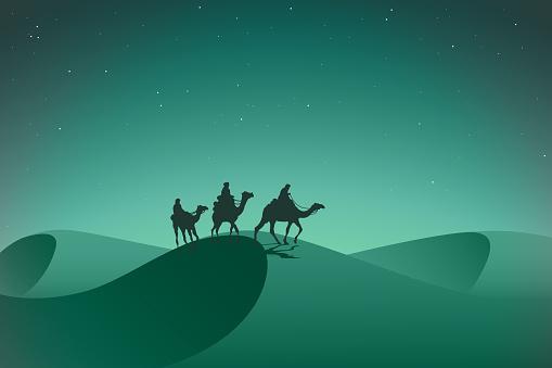 Arabic caravan in night desert.