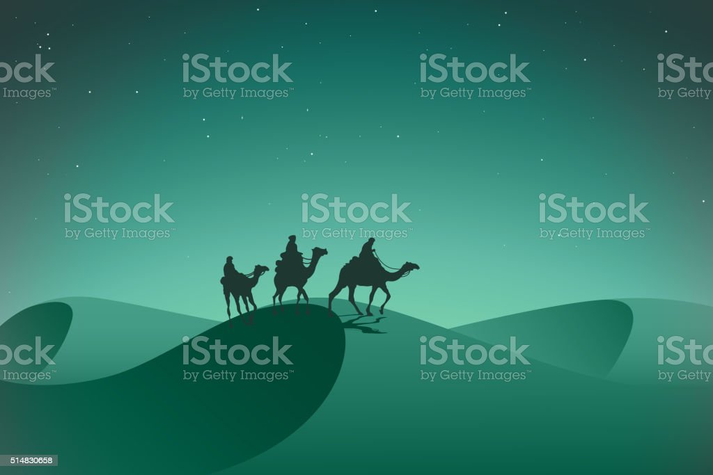 Arabic caravan in night desert. vector art illustration