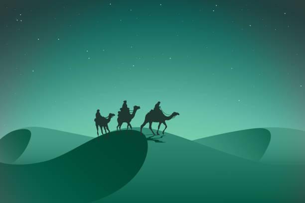 pustynia arabska namiot w nocy. - arab stock illustrations