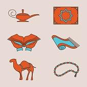 Arabic colorful icons set
