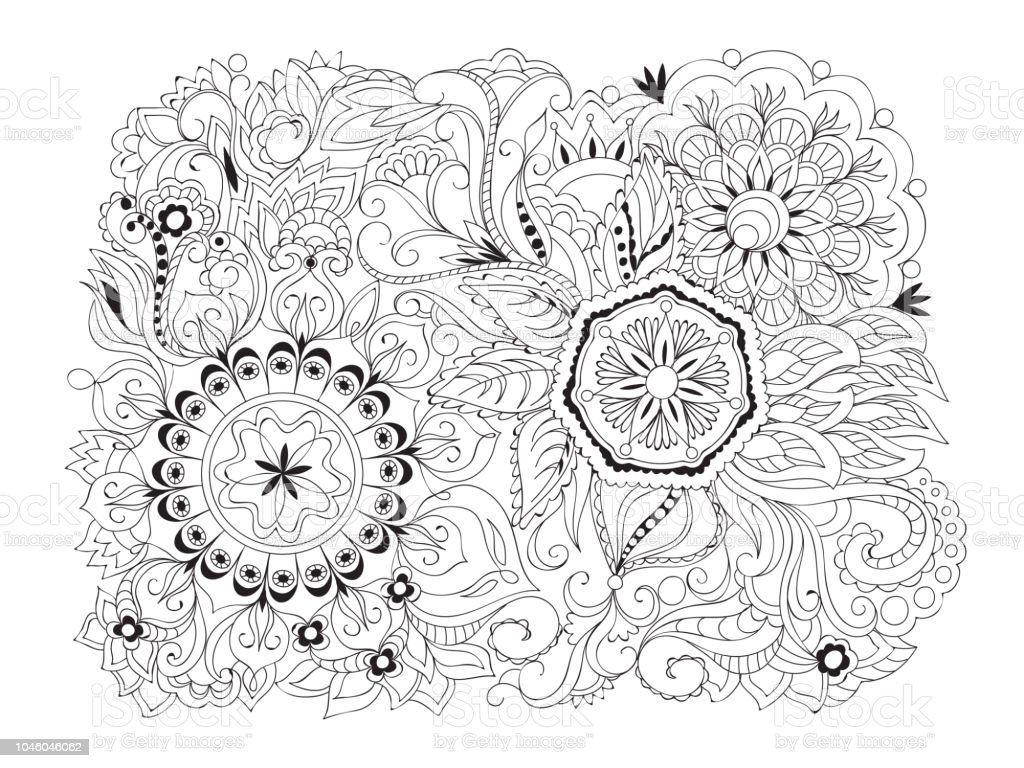Arabic Composition With Mandalas And Henna Flowers Stock Vector Art